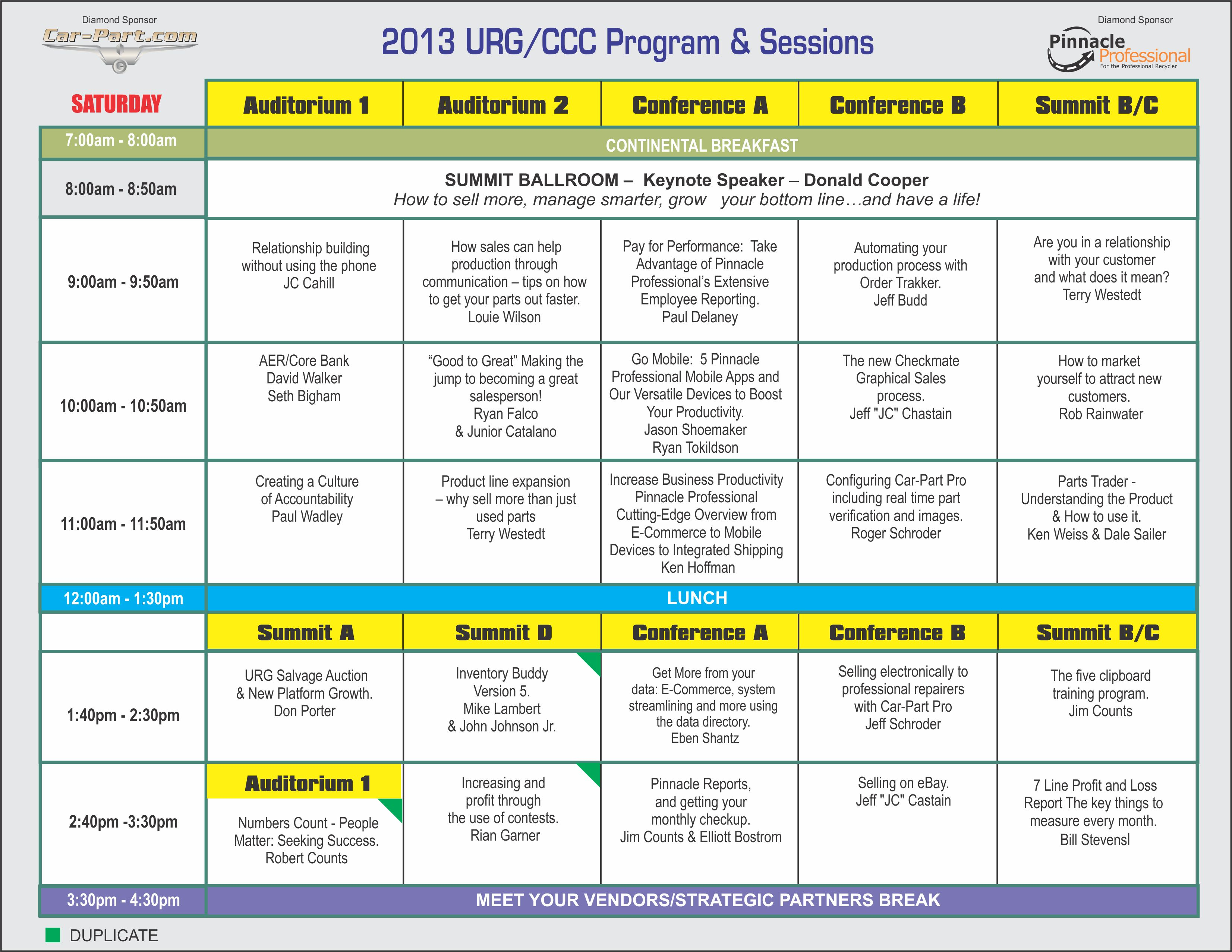 2013 Training Conference United Recyclers Group LLC – Conference Schedule Template